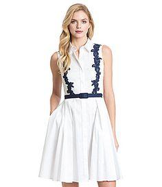 Belle Badgley Mischka Paige Johnny Collar Button Front Dress #Dillards