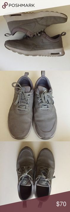 gray nike air max thea premium leather chic gray nike air max thea premium leather goes with everything good condition! Nike Shoes Sneakers