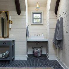 Cabin Kids Bathroom with Gray Hex Floor Tiles