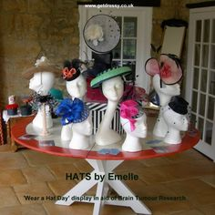 1. HATS by Emelle display at Wear a Hat Day in Somerset - March 2015 BY MARION LOWE #millinery #hats #HatAcademy