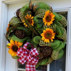 ..Sunflower Summer Deco Mesh Wreath by HolidaysAreSpecial