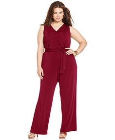 NY Collection Plus Size Sleeveless Belted Jumpsuit