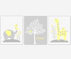 Baby Girl Nursery Wall Art Yellow Gray Elephant Giraffe Jungle Safari Animal White Silhouette Tree Personalize Name Quatrefoil Baby Nursery Decor SET OF 3 UNFRAMED PRINTS. Baby Girl Nursery Wall Art Yellow Gray Elephant Giraffe Jungle Safari Animal White Silhouette Tree Personalize Name Quatrefoil Baby Nursery Decor SET OF 3 UNFRAMED PRINTS FRAMES ARE SHOWN FOR DISPLAY PURPOSES ONLY Sizes Available: 5x7 8x10 11x14 If ordering two sizes, center print shown is largest size.. 742.