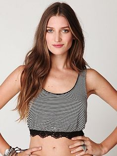 Sleeveless Cropped Stripe Top at Free People Clothing Boutique - StyleSays