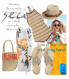 """""""Toes in the sand....."""" by mdfletch ❤ liked on Polyvore featuring Safdie & Co., Wildfox, Flora Bella, SHE MADE ME, NOVICA, Melissa Odabash, Antik Batik, Shiseido and toesinthesand"""