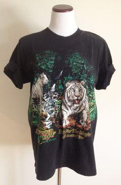 Vintage 1990s Siegfried & Roy Mirage Tshirt / Tiger Tshirt / Animal Shirt / Unisex Tshirt Size Large L by OneSweetNightVintage on Etsy