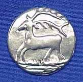 """Stag - (L-1"""", Item # B0907L-RT), ($6.50 per card of 6 buttons) - Three Feathers Pewter 12 East Jackson Street Millersburg, Ohio 44654-1214, Phone 330-674-0404"""