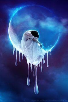 """Tears in Heaven"" by Kuschelirmel, the art of Jasmin Junger on DeviantArt Tears In Heaven, Beautiful Fantasy Art, Beautiful Moon, Moon Fairy, Arte Obscura, Moon Photos, Moon Magic, Moon Goddess, Moon Child"