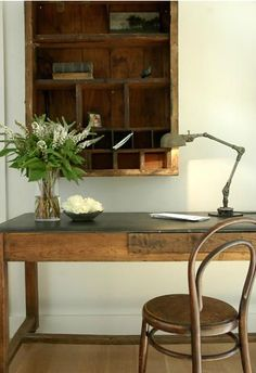 Vintage: leather topped desk, bentwood chair, desk lamp, wooden shelving unit