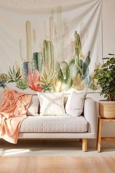 This would be sooo cute as a DIY for the summer. Maybe you can achieve the look with a cheap white bed sheet, and some paint? So fun! #cactus #decor Cactus Landscape Tapestry (affiliate)