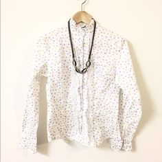Multi color polka dots shirt Lace decorations Tops Button Down Shirts