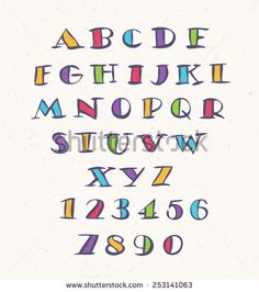 Hand drawn alphabet. Handwritten colorful letters and numbers. Stock vector.