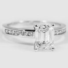 18K White Gold Petite Channel Set Diamond Ring // Set with a 1.53 Carat, Emerald, Very Good Cut, I Color, VVS2 Clarity Lab Diamond #BrilliantEarth
