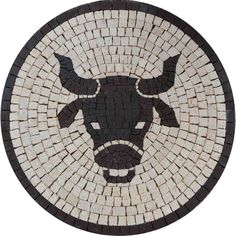 Have your favorite astrology sign turned into a handmade mosaic. For instance this piece of art depicts Taurus in a medallion shaped mosaic. It is composed of all natural marble and can be placed on the wall. Mosaic Designs, Mosaic Patterns, Pattern Art, Mosaic Art Projects, Mosaic Crafts, Mosaic Ideas, Mosaic Portrait, Mosaic Animals, Zodiac Star Signs