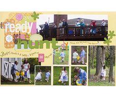 Easter Scrapbook Pages: Ready, Set, Hunt Easter Layout Scrapbook Page Layouts, Scrapbook Pages, Scrapbooking Ideas, Easter Hunt, Easter Eggs, Easter Party Games, Multi Photo, American Crafts, Egg Hunt