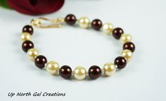 Glass Pearl Bracelet Brown and Ivory Pearl by UpNorthGalCreations