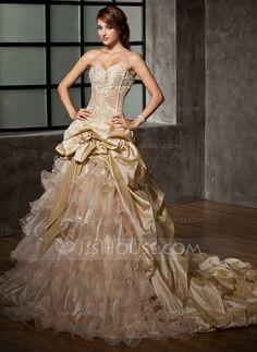 Wedding Dresses - $396.49 - Ball-Gown Sweetheart Cathedral Train Taffeta Organza Wedding Dress With Ruffle Beadwork Flower(s) (002008171) http://jjshouse.com/Ball-Gown-Sweetheart-Cathedral-Train-Taffeta-Organza-Wedding-Dress-With-Ruffle-Beadwork-Flower-S-002008171-g8171