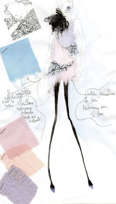 Fashion Sketchbook page - pretty fashion drawing, fabric swatches and design notes