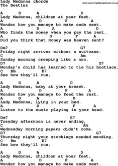 Song Lyrics with guitar chords for Lady Madonna - The Beatles Song Lyrics And Chords, Great Song Lyrics, Beatles Lyrics, Beatles Guitar, Music Lyrics, The Beatles, Beatles Photos, Ukulele Chords Songs, Easy Guitar Songs