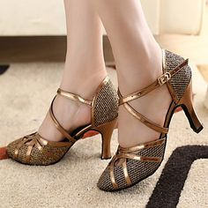 Customizable Women's Dance Shoes Modern/Ballroom Sparkling Glitter Customized Heel Gold – USD $ 32.99