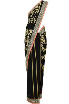 Black and gold embroidered sari available only at Pernia's Pop-Up Shop.