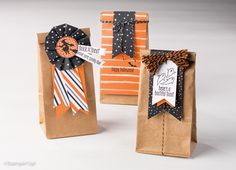 Spooky fun Halloween treat bags created with the Stampin' UP! Petite Cafe bags, Spooky Fun stamp set (#142236) and Halloween Night paper (#142022).  Shop online at www.PattyStamps.com for these products after 9/1/16.