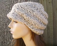 Hand Knit Hat  The Swirl Beanie with Visor in Oatmeal by pixiebell, $40.00