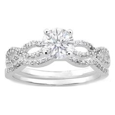 Round Diamond Split Band Engagement Ring and Matching Wedding Band in 14K White Gold 0.34 tcw.
