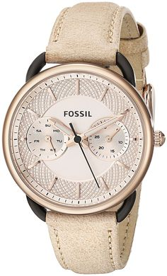 Fossil Women's ES3807 Tailor Rose Gold-Tone Stainless Steel Watch with Leather Strap >>> Click image for more details.