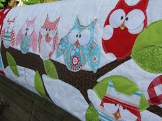 Owl baby girl quilt Happy Hoots Lots of Owls on the by barabooboo