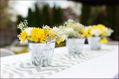 yellow and grey chevron wedding  | yellow and gray chevron sunflower baby shower