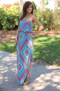 This maxi is full of fun! The pattern is so pretty and not to mention the bright colors are eye catching. Just add a simple necklace and some type pf sandals to complete the look:) Fits true to size. Miranda is wearing the small. From the shoulder to the hem: S-58 M-59 L-60