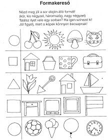 Ovisélet : Nyomtatható feladatlapok II. Shapes Worksheet Kindergarten, Kindergarten Assessment, Shapes Worksheets, Kindergarten Activities, Printable Preschool Worksheets, Preschool Education, Free Preschool, Prewriting Skills, Basic Geometry