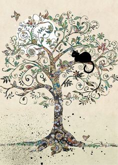 Cat in a Tree bug art H021 Black Ink Designed by Jane Crowther Each card is embossed with gold foil.
