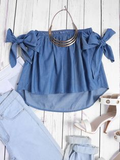 Shop Off Shoulder Bow Tie Dip Hem Chambray Blouse online. SheIn offers Off Shoulder Bow Tie Dip Hem Chambray Blouse & more to fit your fashionable needs. Denim Blouse, Denim Top, Blue Blouse, Summer Day Outfits, Off Shoulder Outfits, Sleeves Designs For Dresses, Summer Crop Tops, Cute Casual Outfits, Corsage