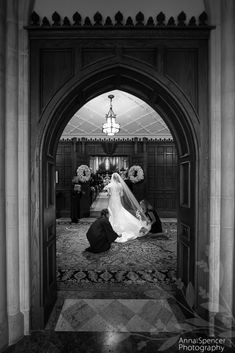 Anna and Spencer Photography, Buckhead Wedding Photographers. The bride just before she walks down the aisle for her wedding ceremony at the Cathedral of St. Philip in Atlanta.