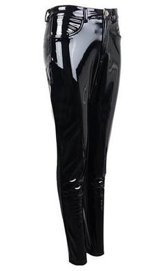 Too Slick Black PU Patent Mid Rise Shiny Zip Front Faux Leather Skinny Button Pant Streetwear Pantalon Vinyl, Wet Look Leggings, Faux Leather Pants, Pocket Detail, Black Nylons, Knee High Boots, Skinny Fit, Ankle Booties, Night Out