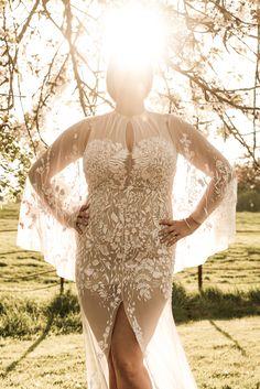 Lisa in our gorgeous soft pink Wildflower cape gown. #hermionedepaula #lisamcallister #motherdaughter #curvybride #capeweddingdress #pinkweddingdress #whimsical Hermione, Cape Gown, Lisa, Curvy Bride, Couture Dresses, Wild Flowers, Gowns, Bridal, Wedding Dresses