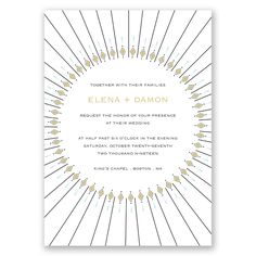 What's more perfect for a wedding than diamonds! This two-sided Art Deco wedding invitation is embellished with a sunburst pattern of diamonds on the front. The reverse side displays your initials surrounded by a diamond pattern.   Product Details:    Invitation Size: 5 1/2' x 7 3/4'  Prints In: Flat, Digital Ink  Ink Color: Choose from a variety of ink options including David's Bridal exclusive colors  Choice of fonts and verses Price Includes: Invitation, Choice of...