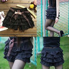 Sexy-Black-Ruffle-Skorts-Layered-Vestido-Frilly-Shorts-Chiffon-Casual-Skirt-Pant