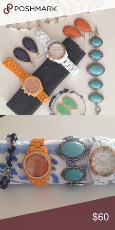 COLORFUL POP of EARRINGS WATCHES BRACELETS CHAIN Lucky Brand Extra Long beaded chain with gold colored discs ($45 retail), Lucky Brand turquoise colored resin stones and mixed metal bracelet ($80 retail), 3 pair of colored CZ drop earrings ($15 each retail), 2 watches one with nautical inspired face one with CZ need batteries ($45 each retail), stone look and mixed metal beaded bangle ($35 retail) Jewelry