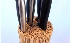 Wooden skewer knife rack