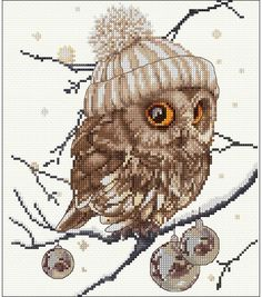 Thea Gouverneur Whoo Whoo It's Winter - Cross Stitch Kit. Cross stitch kit featuring an owl. This cross stitch kit contains Aida cloth, pre-sorted DMC floss, Jo Cross Stitch Owl, Cross Stitch Animals, Counted Cross Stitch Patterns, Cross Stitch Charts, Cross Stitch Designs, Cross Stitching, Hand Embroidery Stitches, Cross Stitch Embroidery, Embroidery Patterns