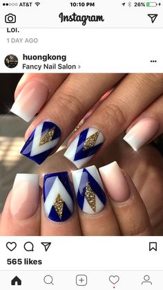 Blue And White Nails, Claws, Nail Art Designs, Beauty, Nail Designs, Beauty Illustration