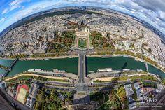Fisheye view of Paris from the Eiffel Tower - MetroScenes.com
