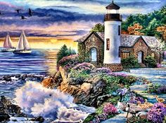 Perfect Dawn - seascape, beautiful, artwork, painting, art, lighthouse, wide screen, architecture, flowers, scenery, sailboats
