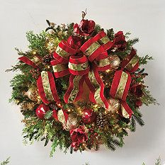 Christmas Joy Pre-Lit Decorated Wreath