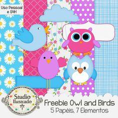 Freebie Owl and Birds, Freebie Coruja e Passarinhos, Free, Grátis, Digital Kit