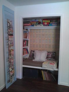 My own little closet book nook! My and my toddler's favorite place to hang out and read!