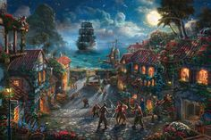 Title: Pirates of the Caribbean Painted: 2014 Published: 2014 Style: Narrative Panorama Classification: Thomas Kinkade Studios Subject Location: Caribbean Hidden Elements: 5 Skulls Limited Edition: Available